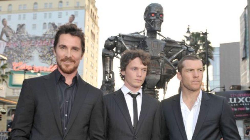 Christian Bale, Anton Yelchin and Sam Worthington at the LA premiere of Terminator Salvation