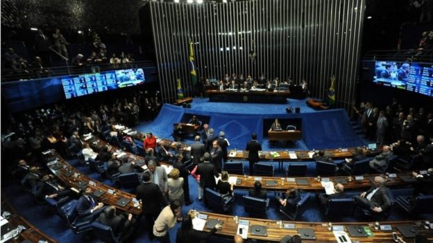 Picture of the Senate's plenary session taken during the impeachment vote against suspended President Dilma Rousseff, at the Senate in Brasilia, on August 31, 2016.