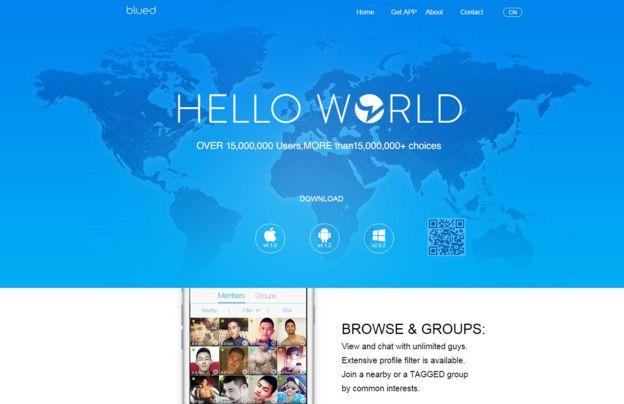 Página de inicio de la web Blued