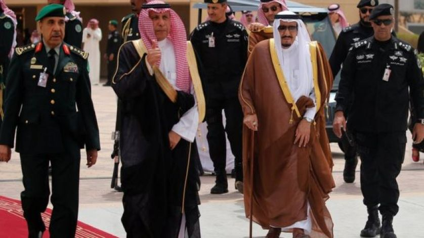 Aide gives a thumbs-up that Saudi Arabia's King Salman is ready to welcome Trump
