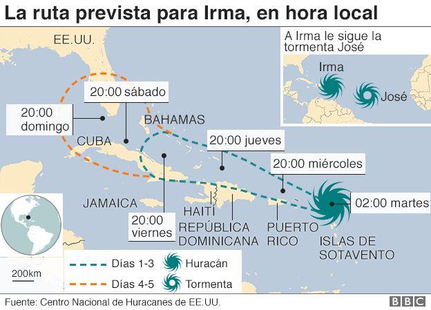 Mapa con la trayectoria prevista para el huracán Irma.