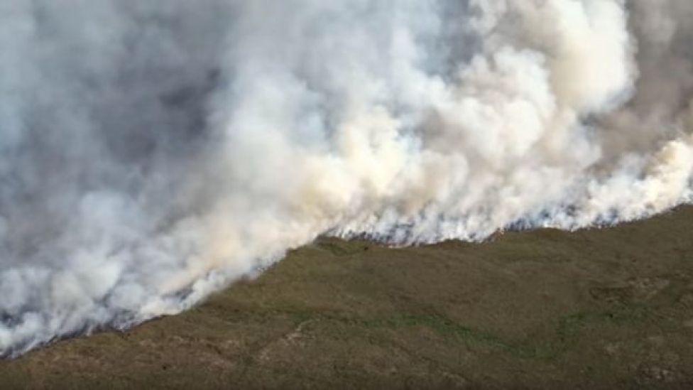 Smoke from the blaze