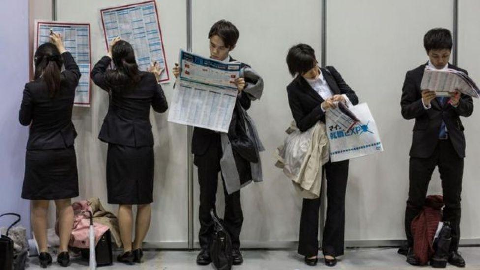 Una feria de trabajo en Japón.