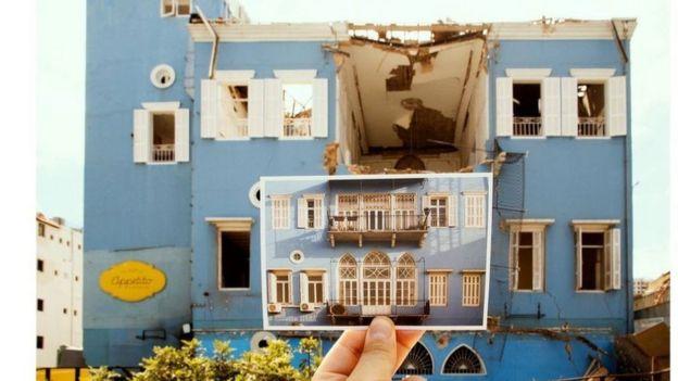 """تعرّف الزوجان في أعقاب الانفجار على 25 مبنى وتركا أمام كل منها بطاقة بريدية تحمل صورة من مجموعة """"بيوت بيروت"""""""