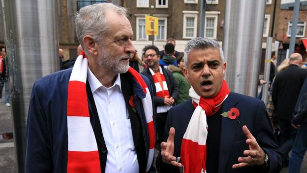 Sadiq Khan and Jeremy Corbyn at the Arsenal v Tottenham Hotspur game in November 2015