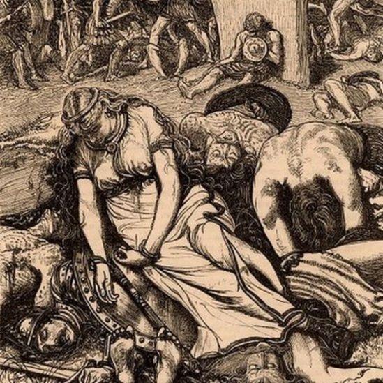 Dibujo en tinta sepia de Boudica después de su derrota por los romanos.