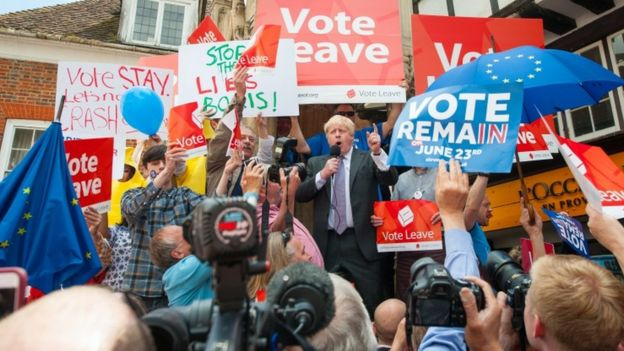 Boris Johnson speaking at a pro-Brexit rally