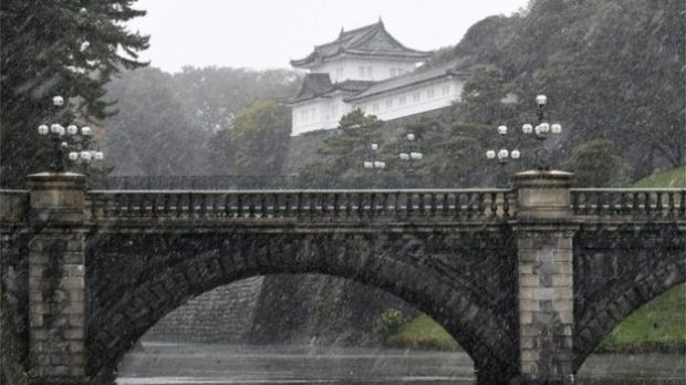Snow outside the Imperial Palace in Tokyo