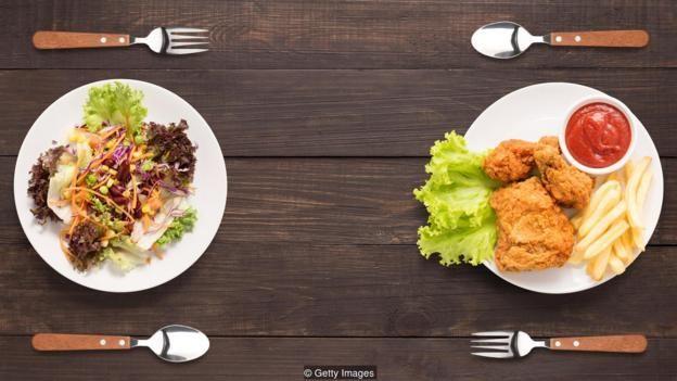 Dos platos de comida: uno considerado sano el otro más calórico.