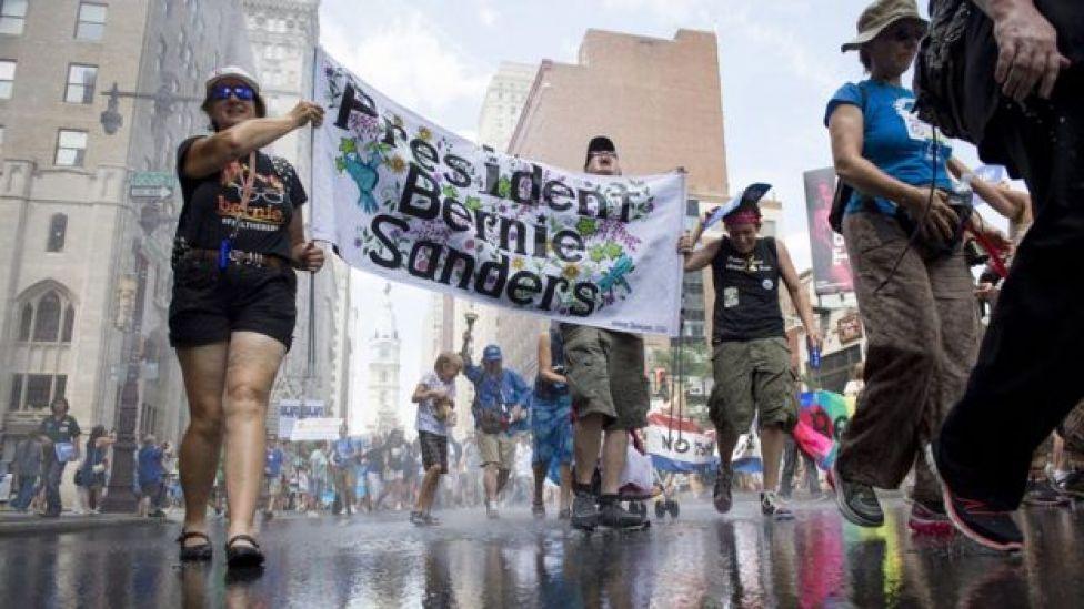 Sanders supporters protest in Philadelphia