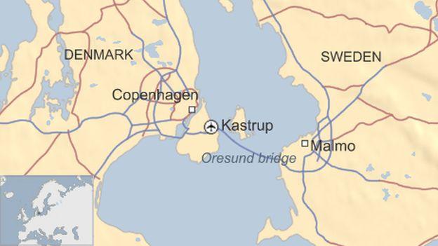 Oresund bridge map