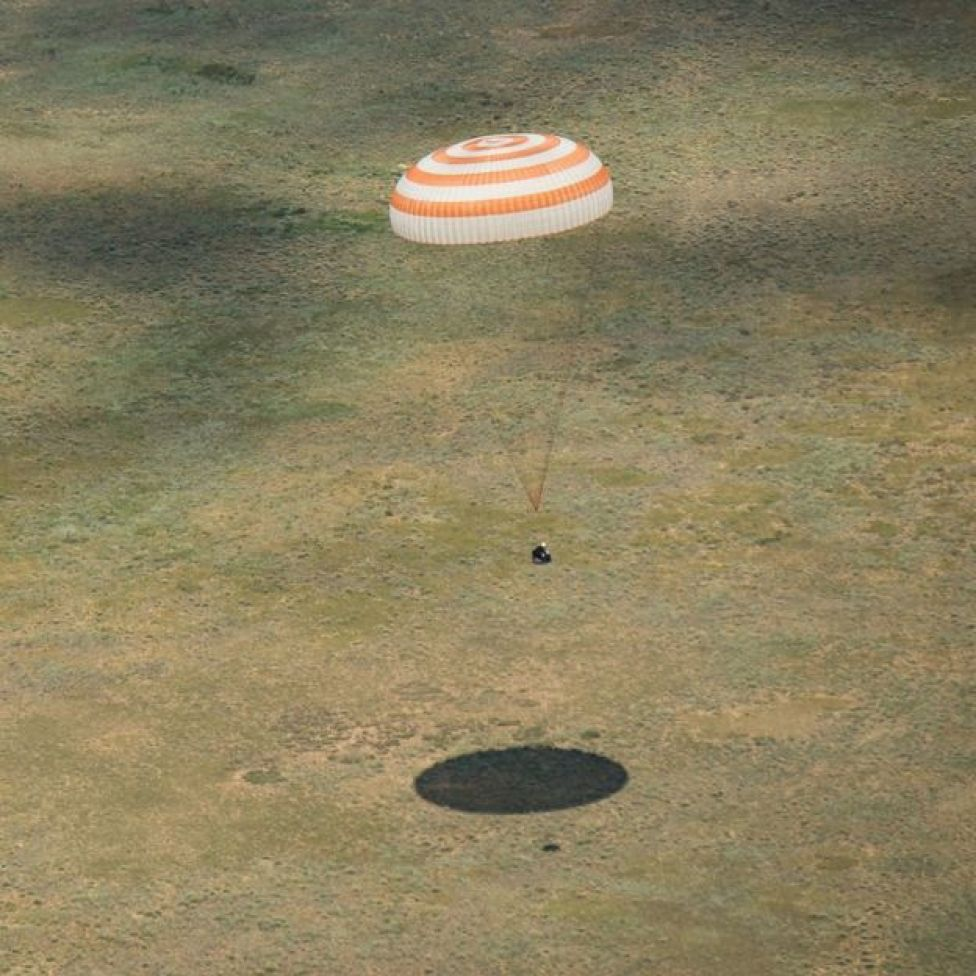 Soyuz returning to Earth