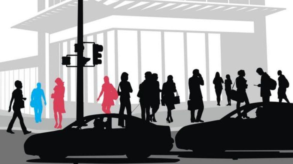 Ilustración de gente caminando por la calle. (Imagen: iStock/BBC)