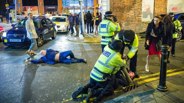 Photo of revellers in Manchester