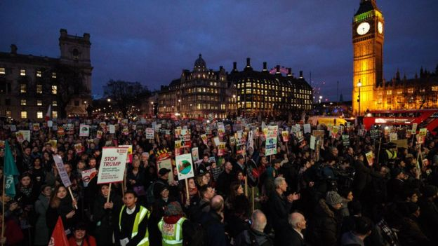 PRotests against Trump in London