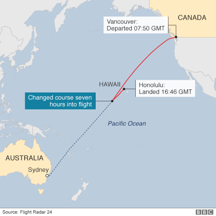 Map showing course of Air Canada flight, including it changing course