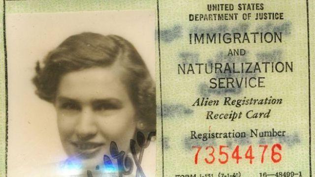 Green card de Edith quando ele imigrou para os EUA