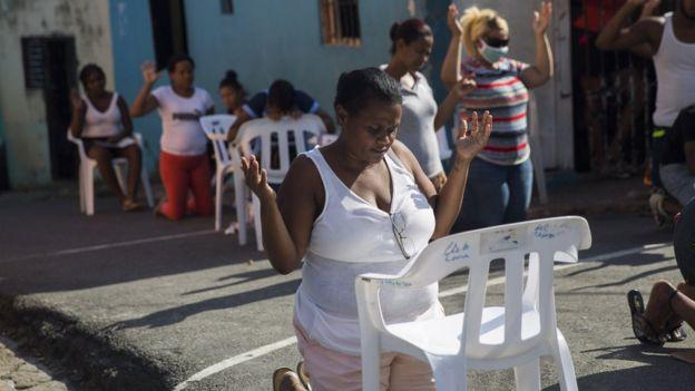 Un culto evangélico celebrado en persona en Santo Domingo el mes pasado.
