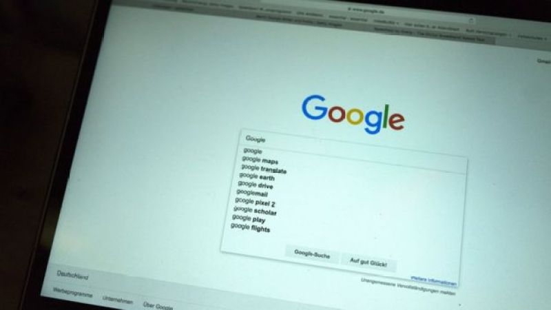 Computer screen showing Google