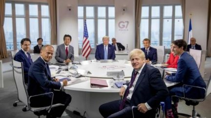 Giuseppe Conte, Donald Tusk, Shinzo Abe, Donald Trump, Boris Johnson, Emmanuel Macron, Angela Merkel and Justin Trudeau