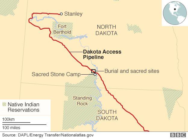 Map of Dakota pipeline