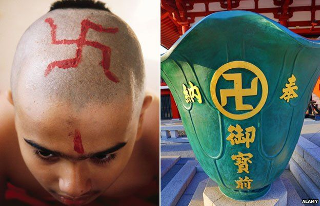 Garoto indiano com suástica na cabeça e vaso no templo Sensoji Asakusa Kannon, em Tóquio