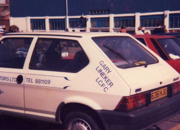 Gary Lineker's old car on the Leicester City former main stand car park at Filbert Street in the 1980s