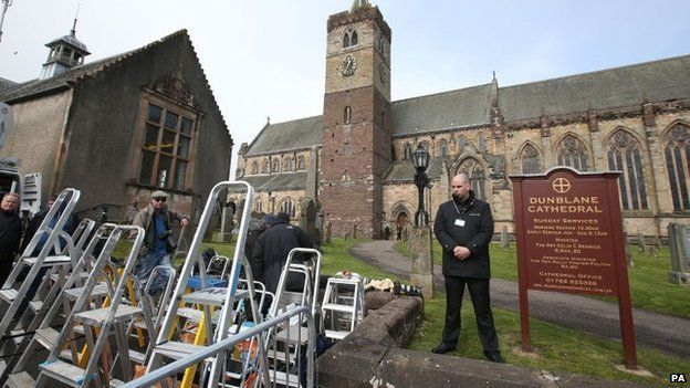 Media ladders outside Dunblane Cathedral