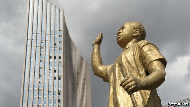 A statue of Kwame Nkrumah, who was the first president of independent Ghana and a founding member of the Organisation of African Unity, the predecessor of the African Union, stands outside the headquarters complex of the African Union (AU) - 2013