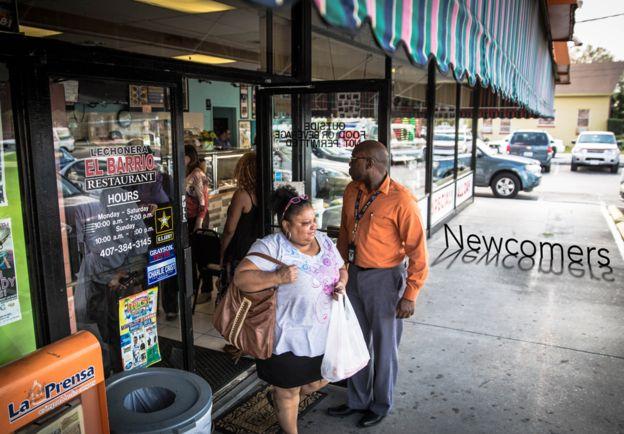 Customers leaving Orlando restaurant