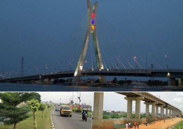 Top: Lekki-Ikoyi bridge Bottom: L - revamped road; R: light railway construction - all in Lagos, Nigeria