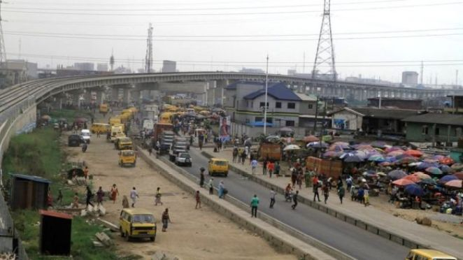 View of newly built raised railway track in Lagos, Nigeria