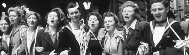 London revellers dancing in the streets on VE Day