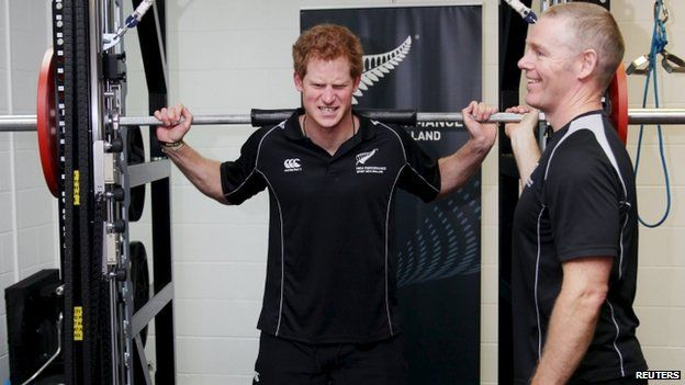 Prince Harry lifts weights at the AUT Millennium Institute