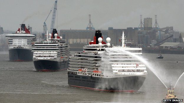 The three Cunard Queens on the River Mersey