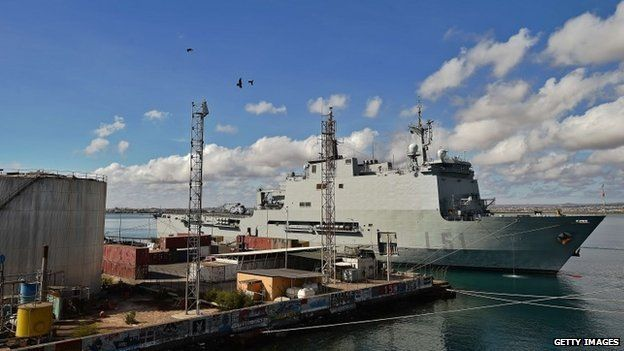 Picture taken on 6 May, 2015, at the French military base in Djibouti, showing the Spanish warship La Galicia