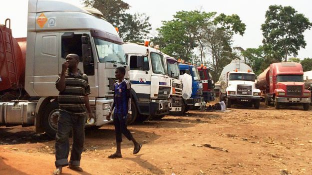 Lorries at Ogbere Trailer Park in Ogun state - February 2015
