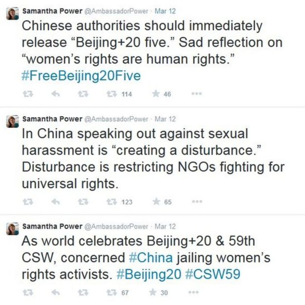 Screencap of Samantha Power's tweets on March 12