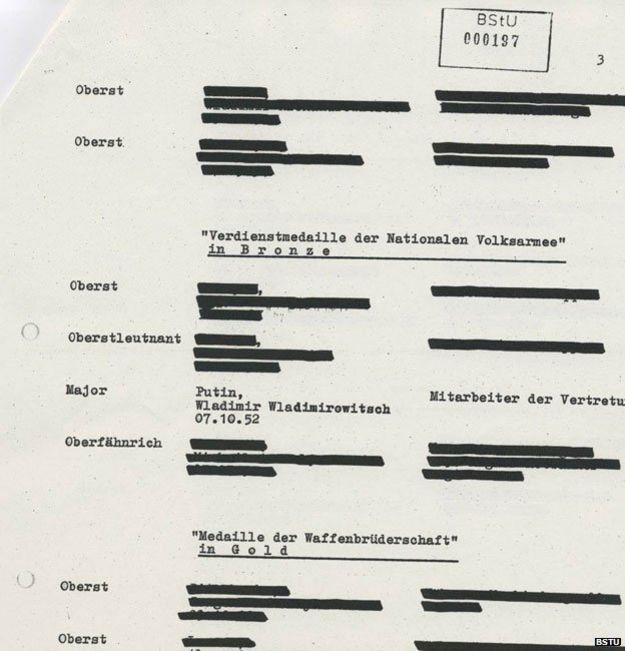 A heavily redacted Stasi document referring to Vladimir Putin