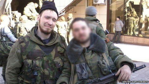 Dmitry Sapozhnikov (left) in Donetsk, 2014