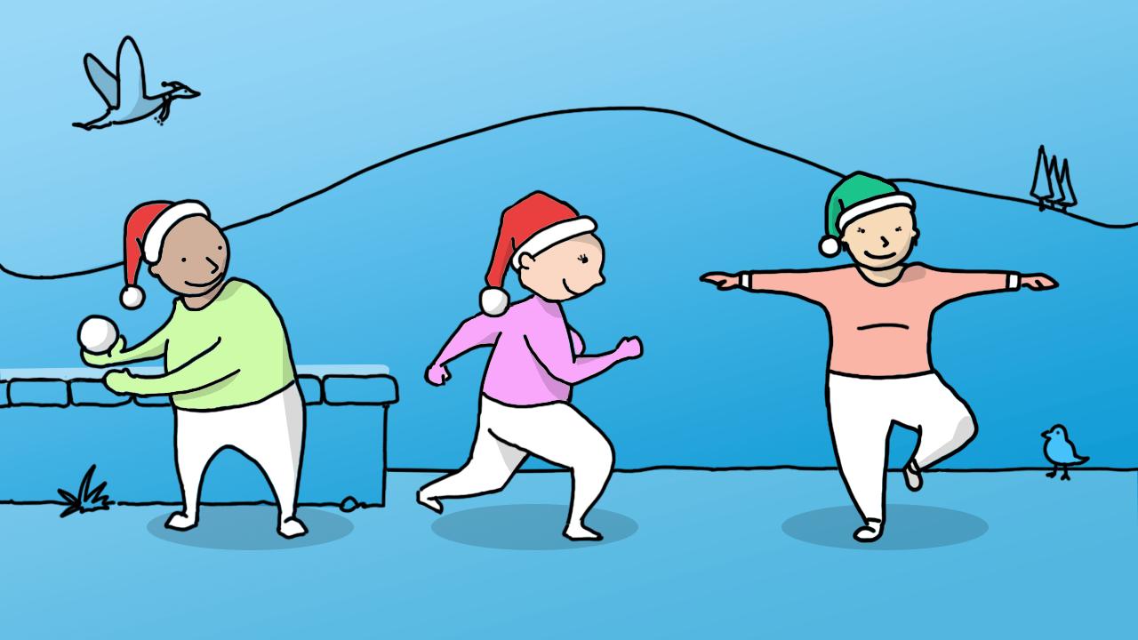 Малюнок: троє людей займаються фізкультурою