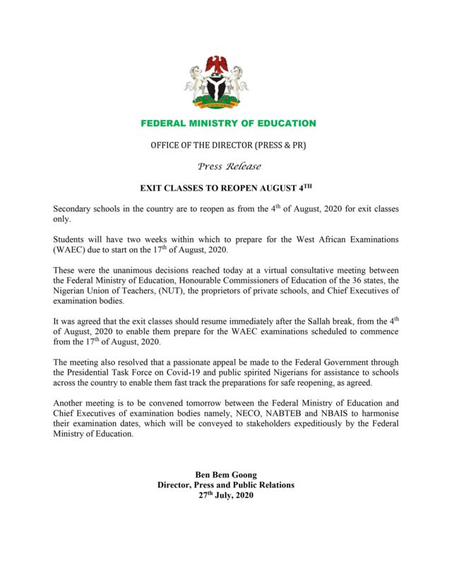Nigerian schools resumption and Waec examination date: