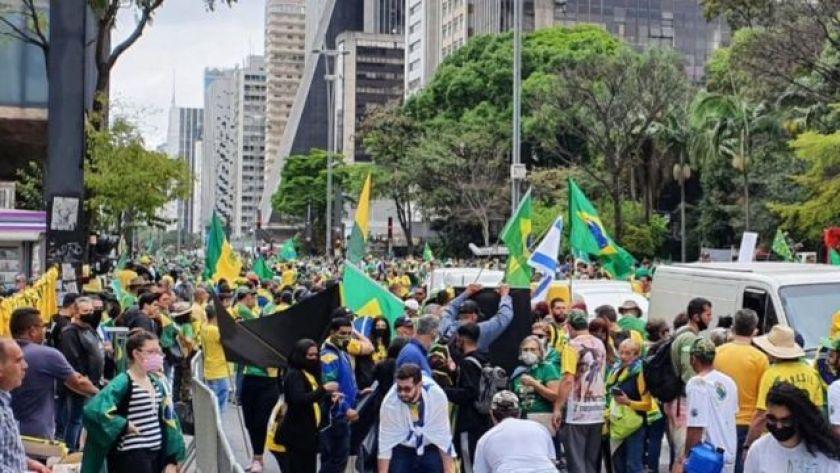 Protesters gather in the Paulista Avenue region in a pro-Bolsonaro act