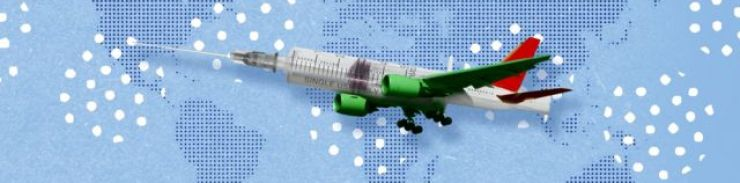 Collage art of an aeroplane that is also a syringe