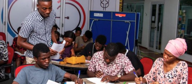 People attending a session with Ghana Tech Lab
