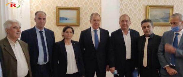 لقاء وفد من مجلس سوريا الديمقراطي وحزب الإرادة الشعبية بوزير الخارجية الروسي في موسكو