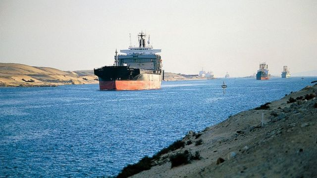 Archive photo of ships crossing the Suez Canal near Ismailia