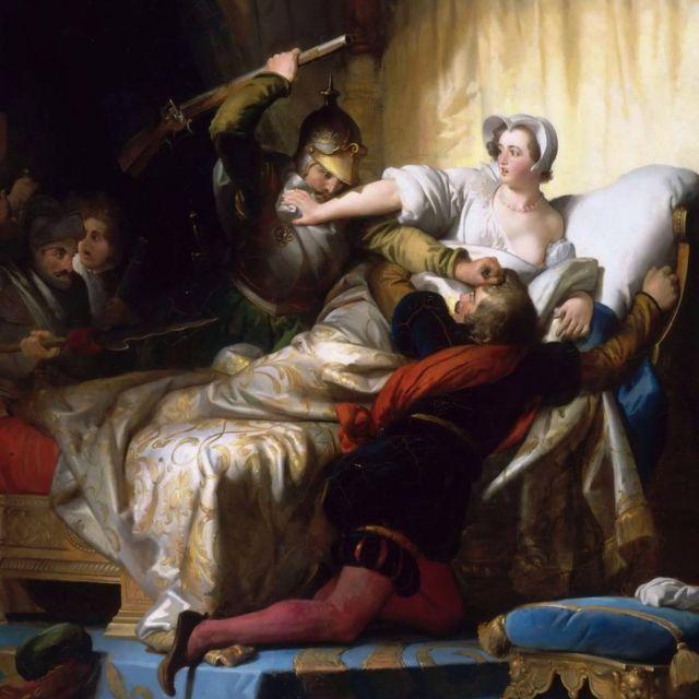 Escena en el dormitorio de Margarita de Valois durante la Masacre de San Bartolomeó