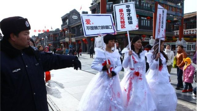 In 2012, several female activists organized a protest against domestic violence in China