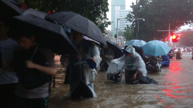 Image shows the flooding in Henan province